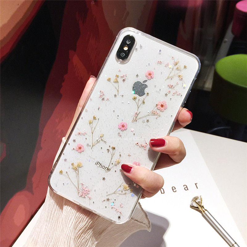 For iPhone X XS MAX XR 8 7 6 Gypsophila Handmade Real