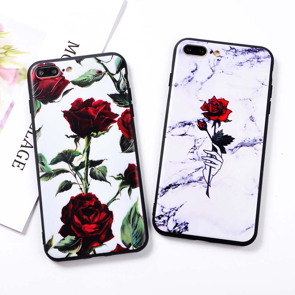Phone Case For Iphone 6 6s Plus Clear Rose Floral Cases For Iphone
