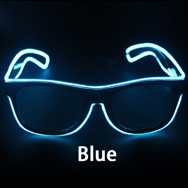 f2fce85f79ed Details about Glow Glasses Light Up El Wire Glowing Party Rave Glow-in-The  Dark LED Sunglasses